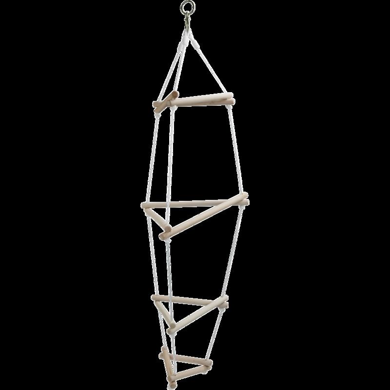 De driehoeks touwladder met 12 treden is gemaakt van ongelakt, massief hardhout. deze touwladder biedt volop ...